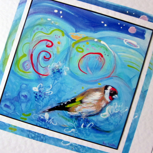 Art greeting card Goldfinch from my original painting