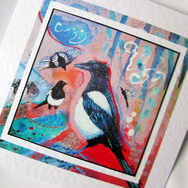 Art greeting card Magpies from my original painting