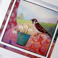 Greeting card Snowdrops and Sparrow from my original painting