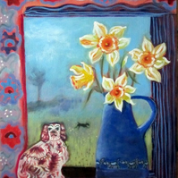 Original painting, Dogs, Daffodils, flowers, antique, King Charles spaniel