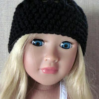 Dolls hat, black hand crochet, 18in doll clothes