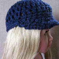 Dolls hat, blue hand crochet cap, 18in doll clothes
