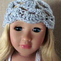 Dolls hat, grey fancy beanie hand crochet, 18in doll clothes