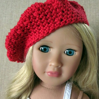 Dolls hat, red beret hand crochet, 18in doll clothes
