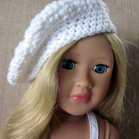 Dolls hat, white beret hand crochet, 18in doll clothes