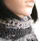 Long skinny scarf over 5 feet Shades of Grey hand crochet