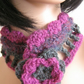 Hand crochet neckwarmer scarflette collar in soft mulberry grey and amethyst