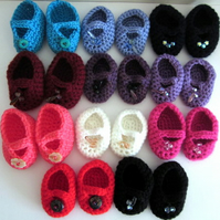 Doll Shoes in  various colours to fit 18in doll, hand crochet doll clothes
