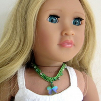 Doll Necklace with green pendant for 18 inch doll, hand crochet doll jewellery