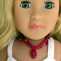 Doll Necklace with red pendant for18 inch doll, hand crochet doll jewellery