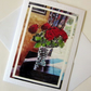 Greeting Card Birthday Red Roses, with print of original mixed media painting