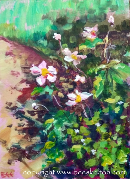 Summer Garden Original Plein Air Impressionist Painting 5x7 on hard board panel