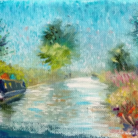 Original Landscape Oil Painting of Narrow Boat on the Oxford Canal