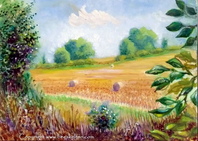 Original Landscape Painting After the Harvest