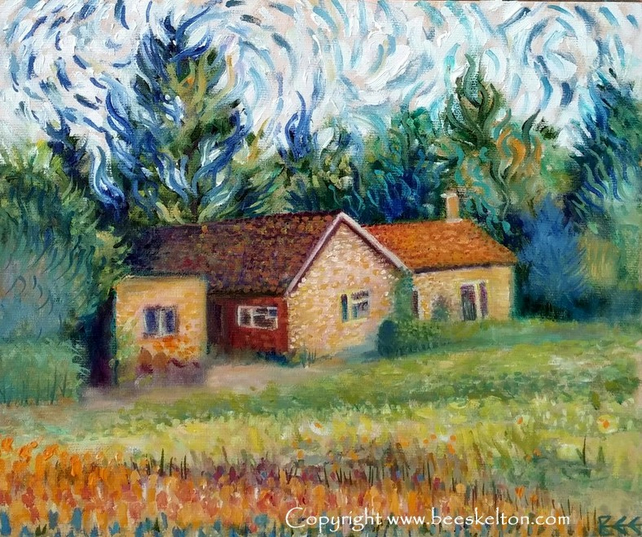 Original oil painting, Country Home