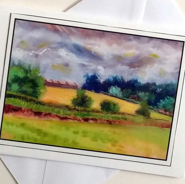 Greeting card Clouds Over Wheat Field  from my original painting