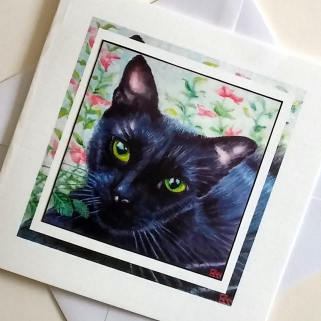 Greeting card Black Cat from my original painting