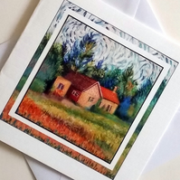 Greeting card Country Cottage from my original painting