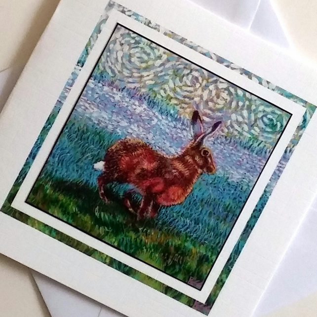 Greeting card Golden Hare from my original painting