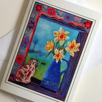 Greeting card Dogs and Daffodils from my original painting