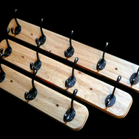 4 Hook Coat Rack with an Oak Plinth