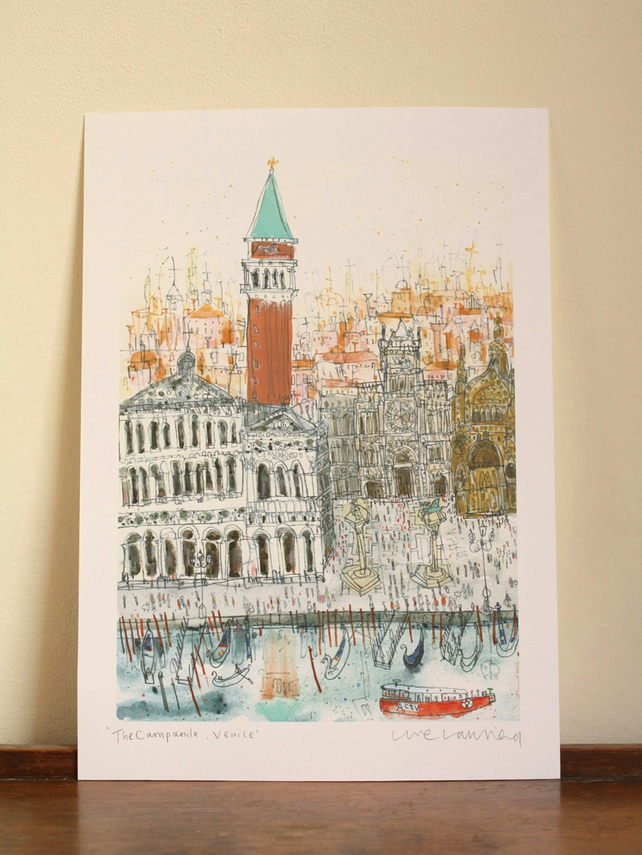 THE CAMPANILE VENICE - Signed Giclée Print from original watercolour painting