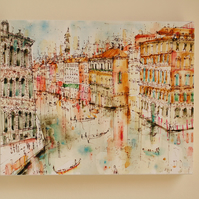 View from Riatlo Bridge VENICE Canvas Print taken from original watercolour