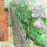 Steps to Sacre Coeur Montmartre Paris Limited Edition Art Print from watercolour