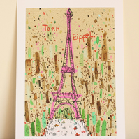 EIFFEL TOWER PARIS - Signed Giclée Print from original mixed-media painting