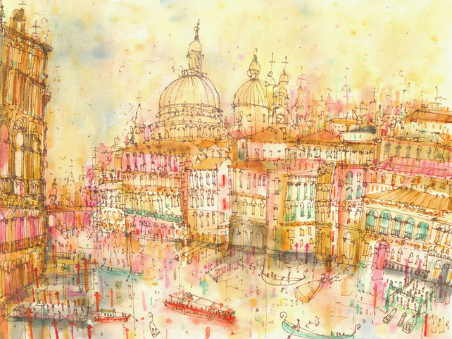 GRAND CANAL SUNSET Venice - Signed limited edition Giclee print from watercolour