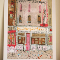 BOULANGERIE PARIS Signed limited edition Giclee print from mixed-media painting