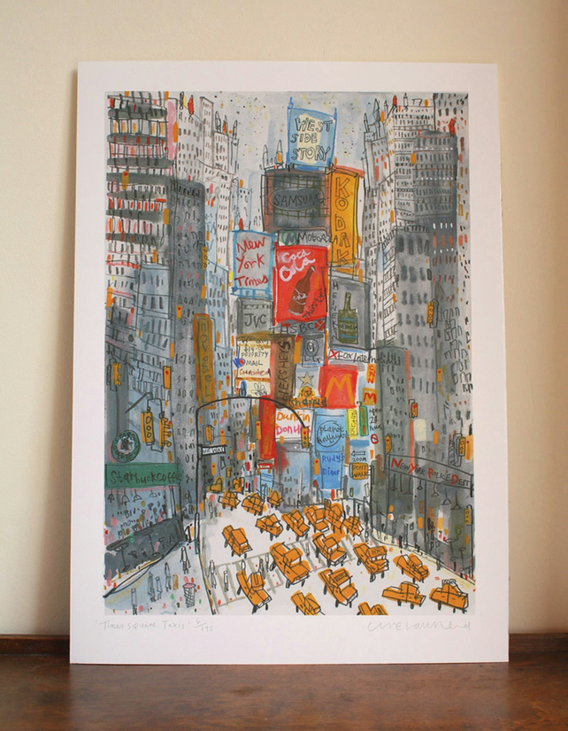 TIMES SQUARE TAXIS New York Signed Limited Edition Giclee print from watercolour
