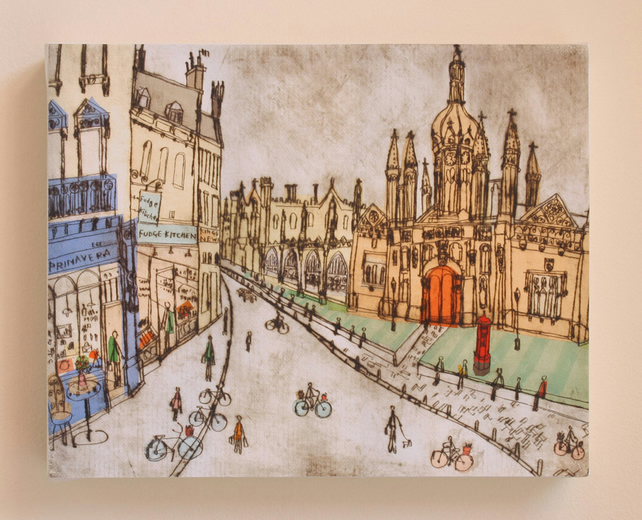 King's College Cambridge England - Signed Box Canvas Print from Drypoint print