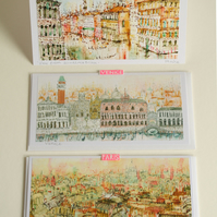Paris & Venice Handmade Cards - Set of 3 illustrative cards
