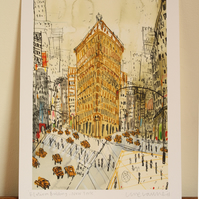 FLATIRON BUILDING NEW YORK,  NYC Art Print, Signed Giclee Print, Clare Caulfield