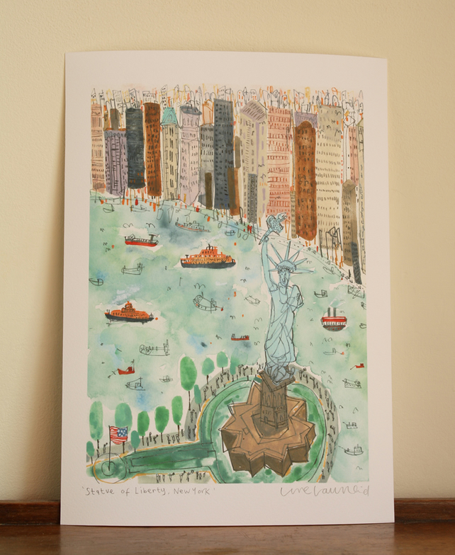 STATUE OF LIBERTY New York City Skyline, Signed Giclee Art print,Clare Caulfield
