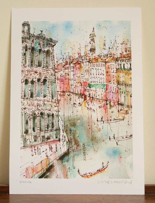 VENICE - Signed Giclée Print from watercolour painting by artist Clare Caulfield