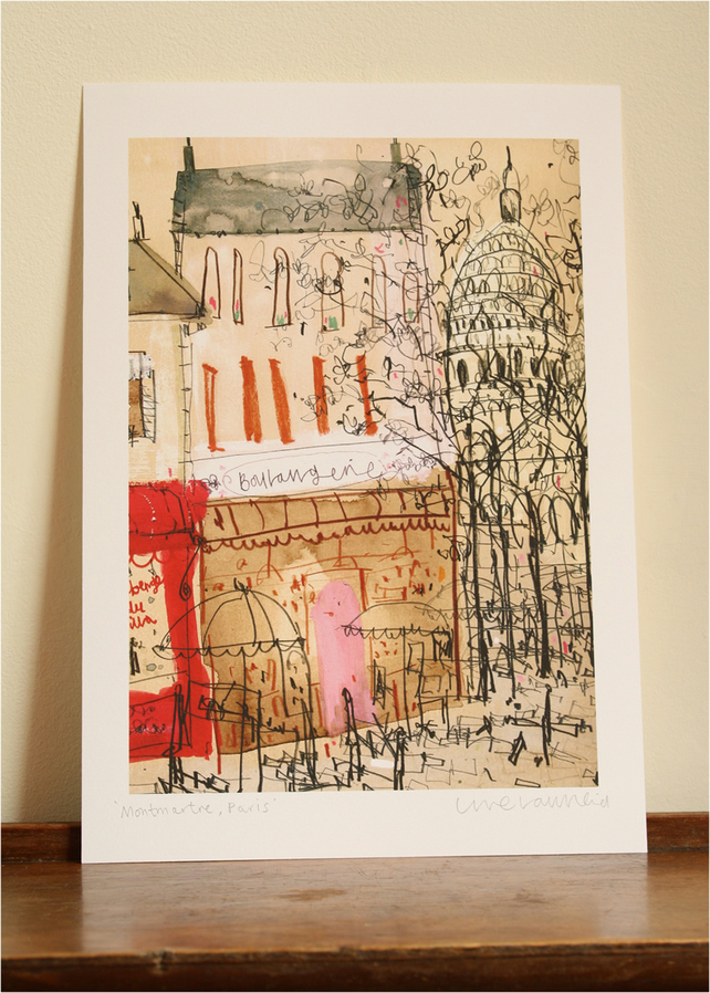 MONTMARTRE PARIS - Signed Giclee Print taken from original watercolour & pencil