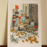 TIMES SQUARE NEW YORK - NYC ART - SIGNED GICLEE PRINT - WATERCOLOUR PAINTING
