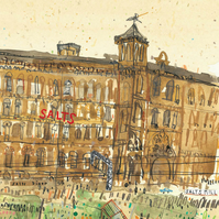 SALTS MILL YORKSHIRE - Victorian Village Saltaire, Signed limited edition Giclee