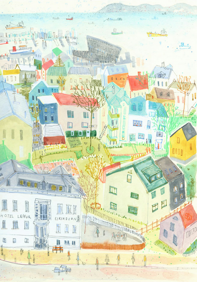 REYKJAVIK ROOFTOPS ICELAND - Signed Giclée Print from watercolour painting