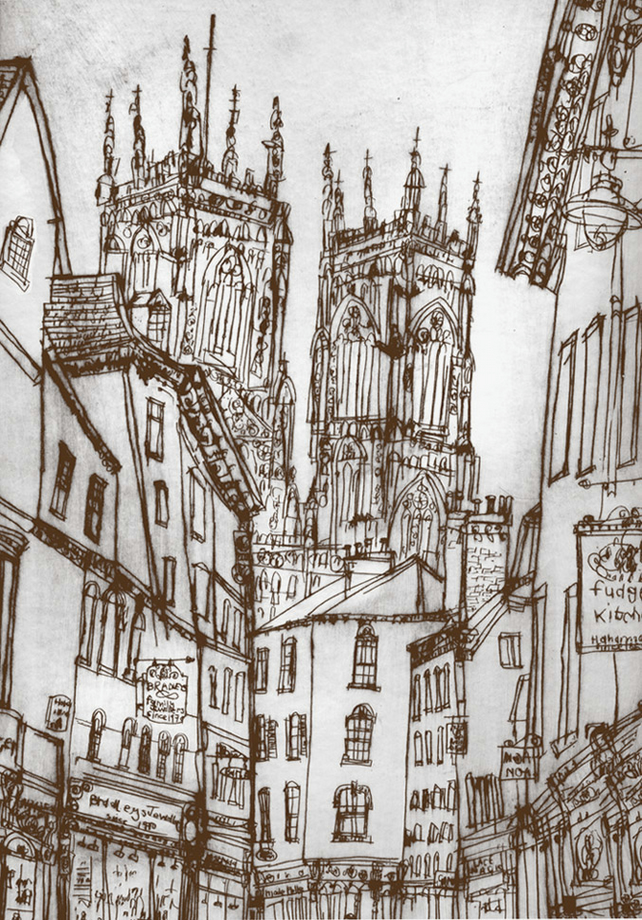 YORK MINSTER - Signed Limited Edition Print from Drypoint by Clare Caulfield