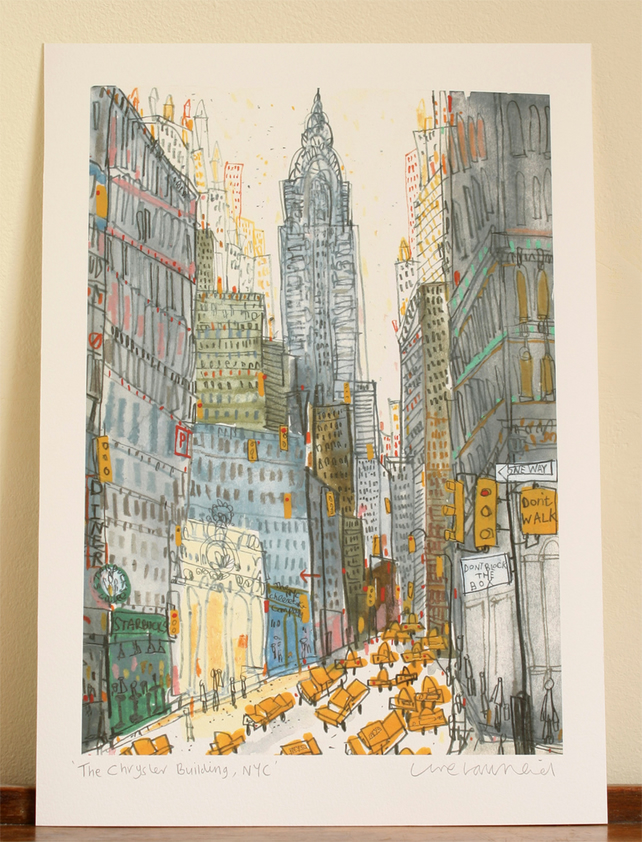 CHRYSLER BUILDING New York Signed Giclee Print from Watercolour Painting NYC Art