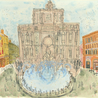 TREVI FOUNTAIN ROME  Signed Limited Edition Giclee Print by Clare Caulfield
