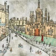 King's College Cambridge  King's Parade - Signed Limited Edition Giclee Print