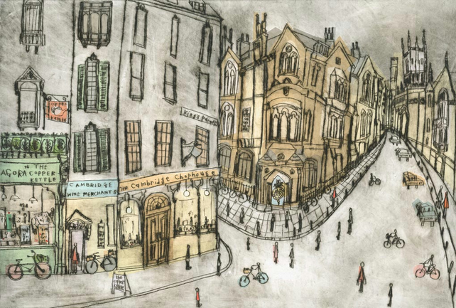 Cambridge Shop Fronts and Corpus Christi Clock - King's Parade - GICLEE PRINT
