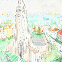 HALLGRIMS CHURCH REYKJAVIK ICELAND - Signed Giclée Print, Watercolour painting