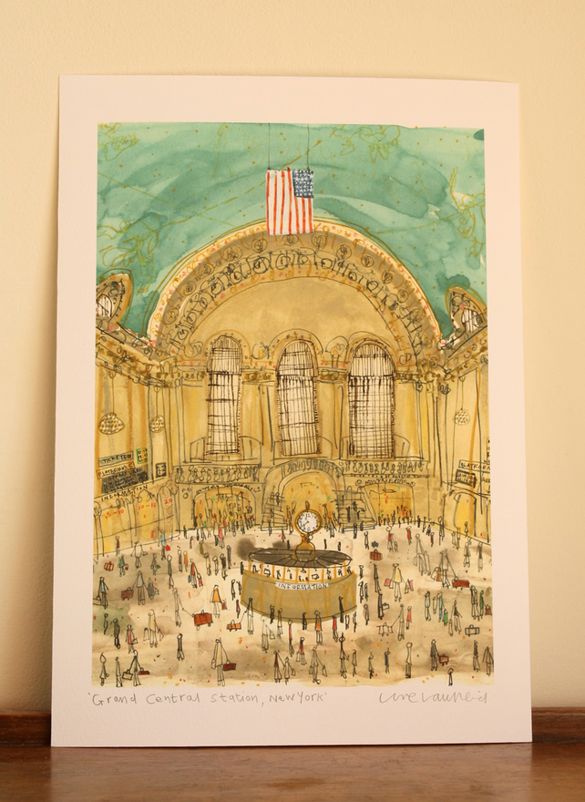 GRAND CENTRAL STATION New York, Signed Giclee print, Clare Caulfield, NYC Art
