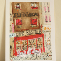 CAFE BASTILLE PARIS - Signed Giclée Print from original mixed-media painting