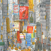 TIMES SQUARE TAXIS NEW YORK Signed Giclee Print signed from Watercolour Painting